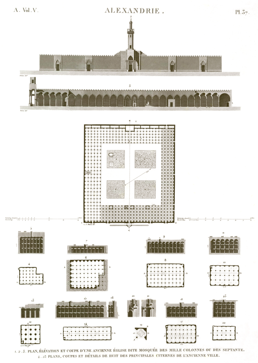 Pl. 37 - 1-3. Plan, elevation and section of an old church called Mosque of a Thousand Columns or of Septuagint 4-23. Plans, sections and details of eight of the main cisterns in the ancient city