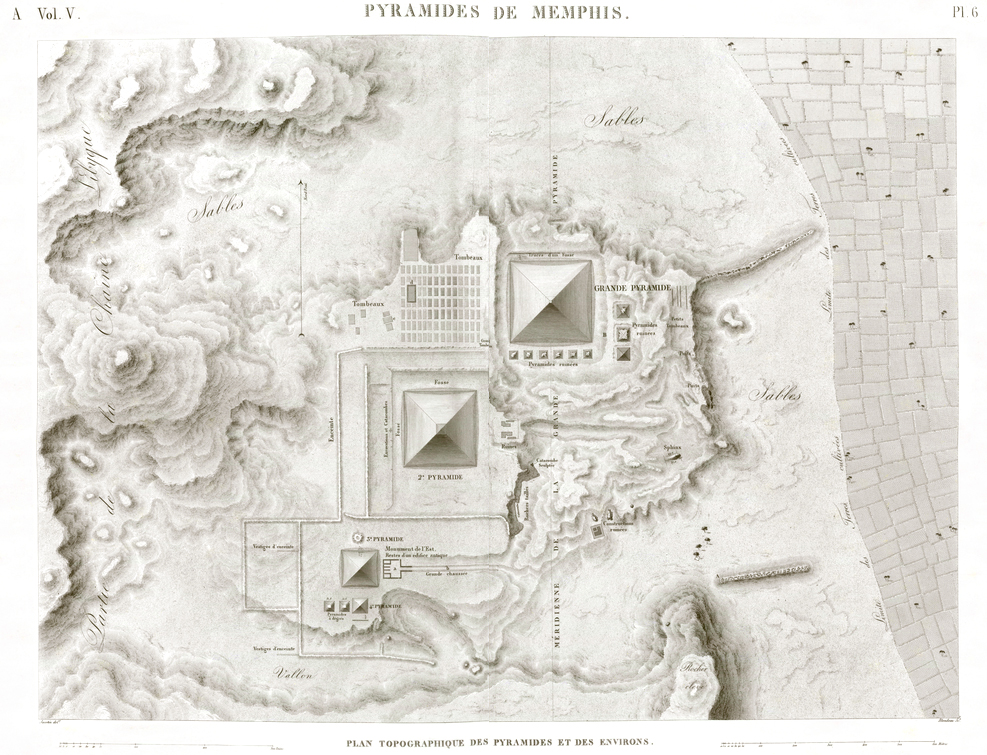 Giza Pyramid Pl.6 - Topographic map of the pyramids and the surrounding area. Description de l'Egypte Egypt