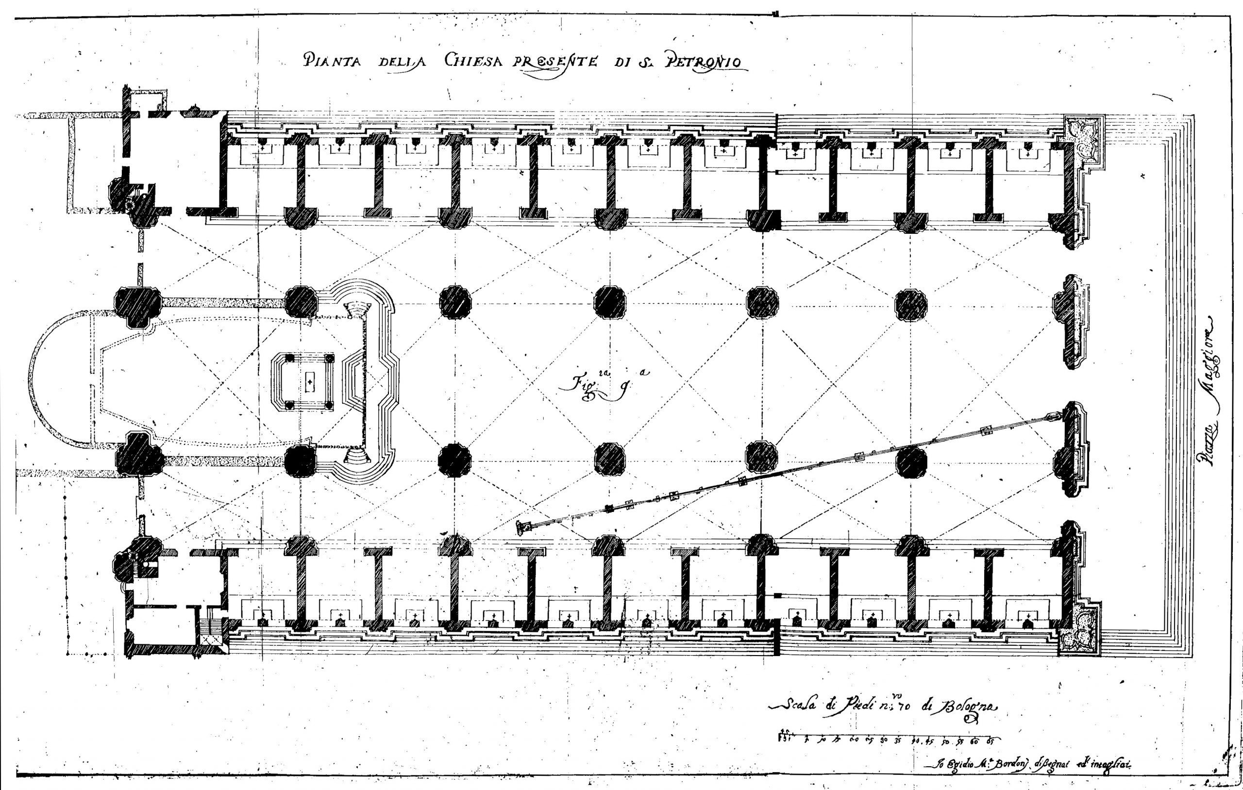 Ground plan of the San Petronio Basilica with the Cassini's Great Meridian line