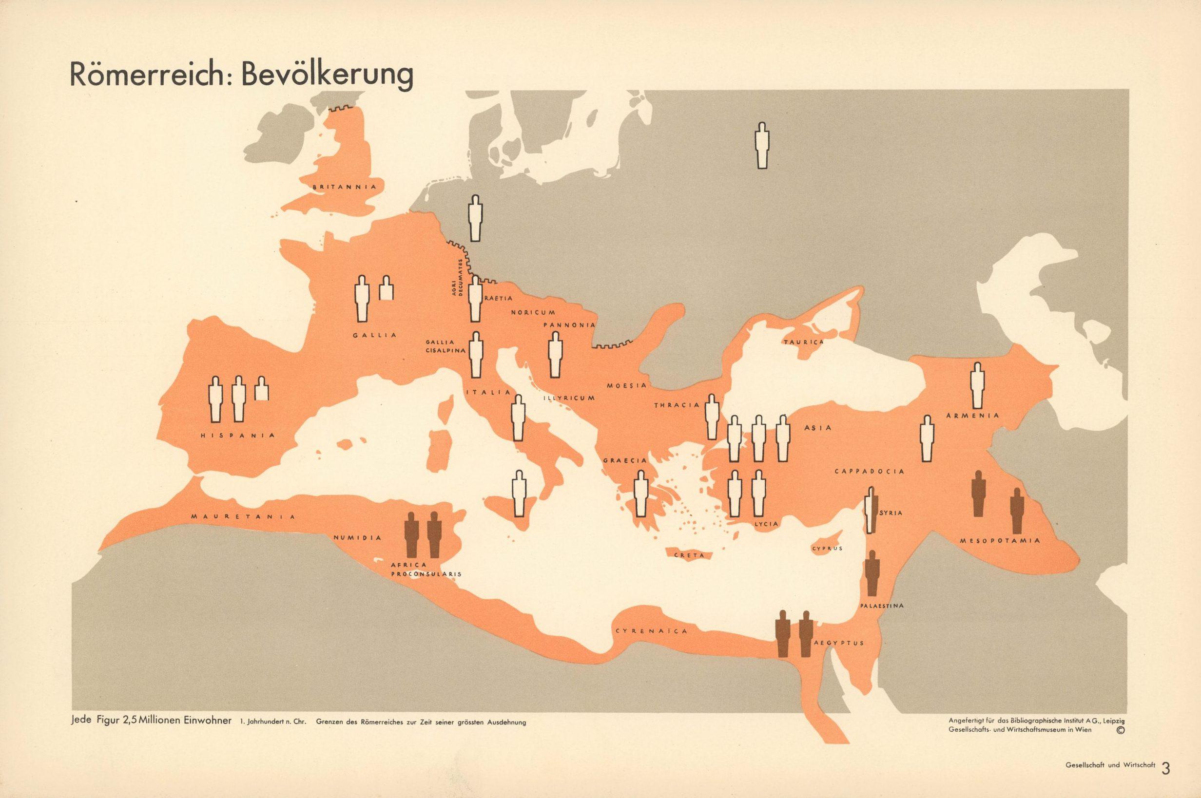 Römerreich: Bevölkerung. (Roman Empire: population) Isotype