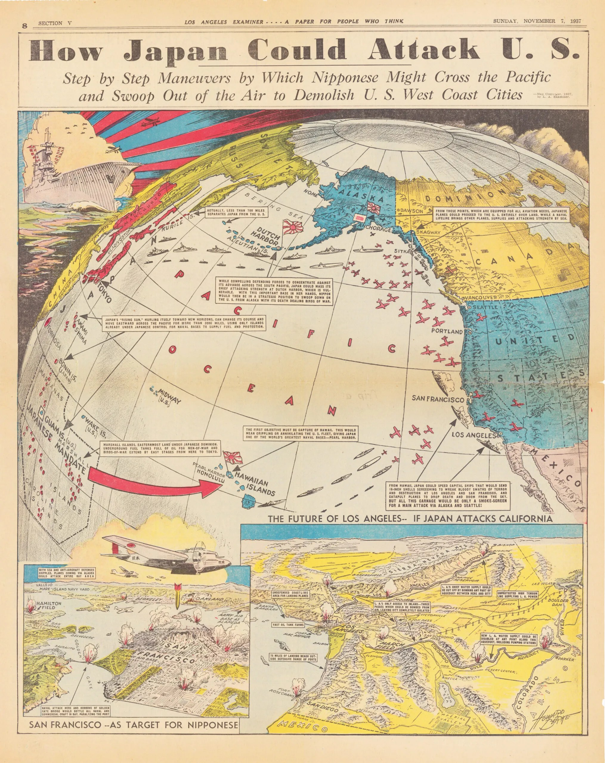 Howard Burke Japan World War Map USA