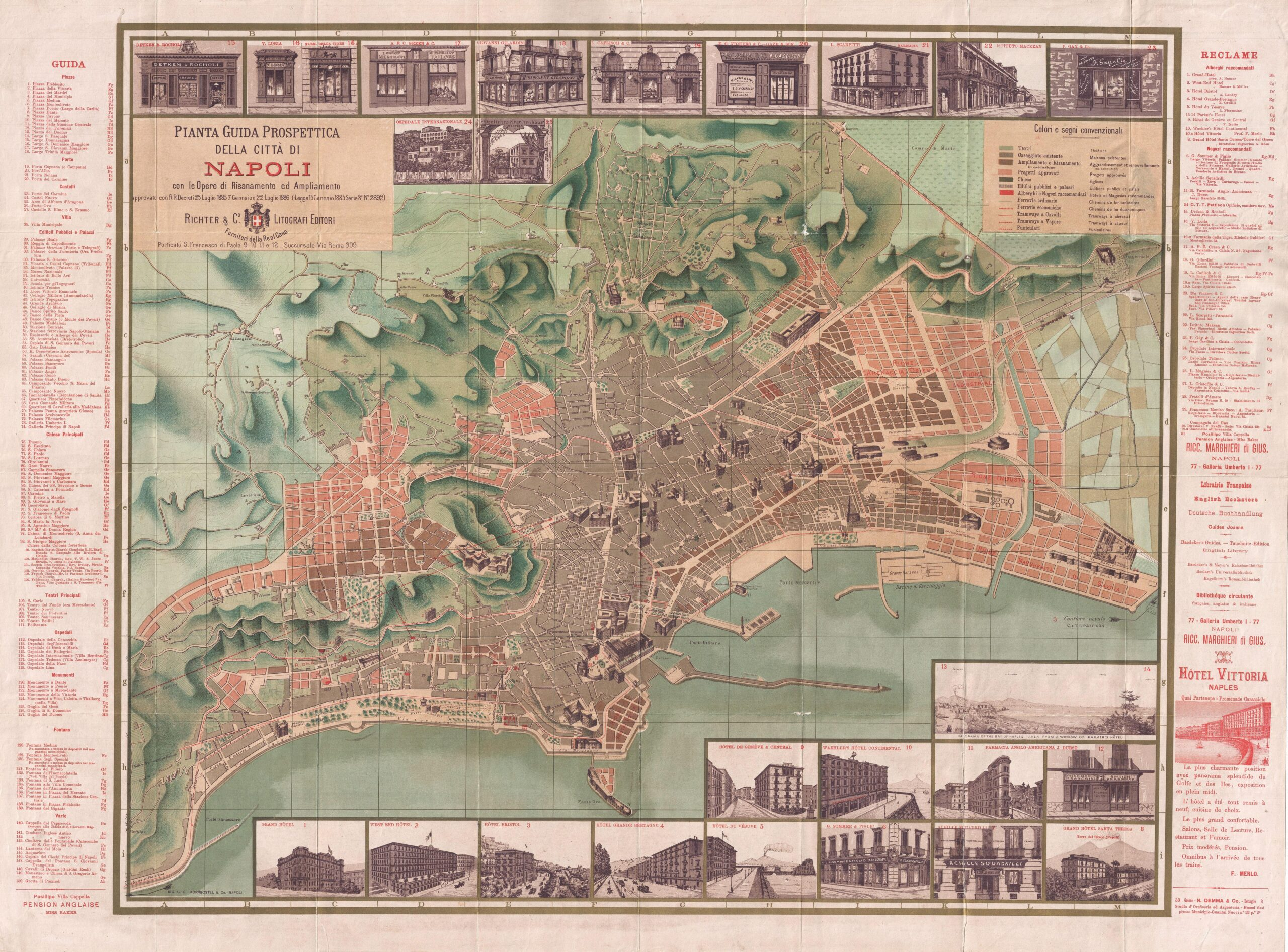 Map of Naples Napoli 1886