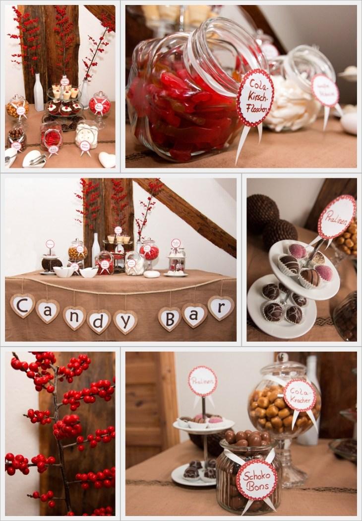 Die Sensevent Candy Bar - hier in winterlichem Rot, Braun und Weiß dekoriert.