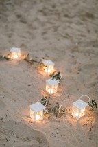 Windlichter Olivenzweig Herz Heiratsantrag Kreta Marriage Proposal Crete Wedding Planner Hochzeitsplaner Strand Beach