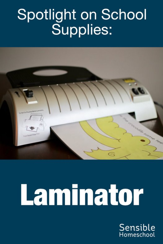 Spotlight on School Supplies: Laminator on wooden table with homeschool printable