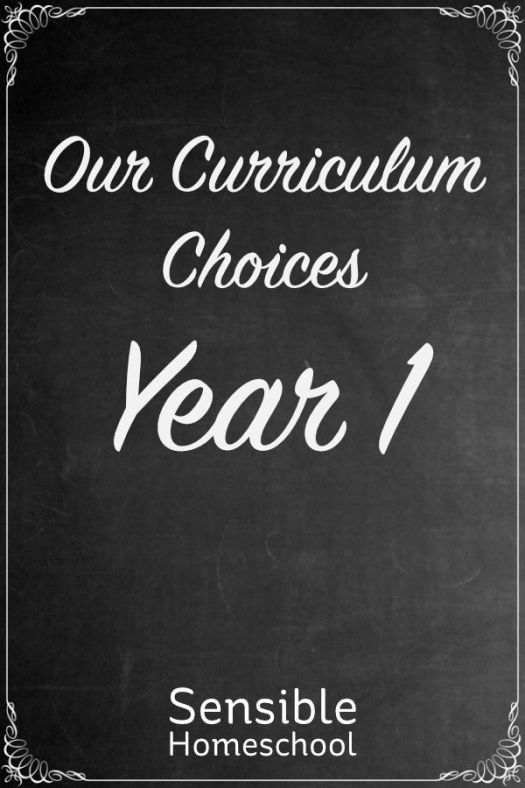 Sensible Homeschool Our Curriculum Choices Year 1 on chalkboard background
