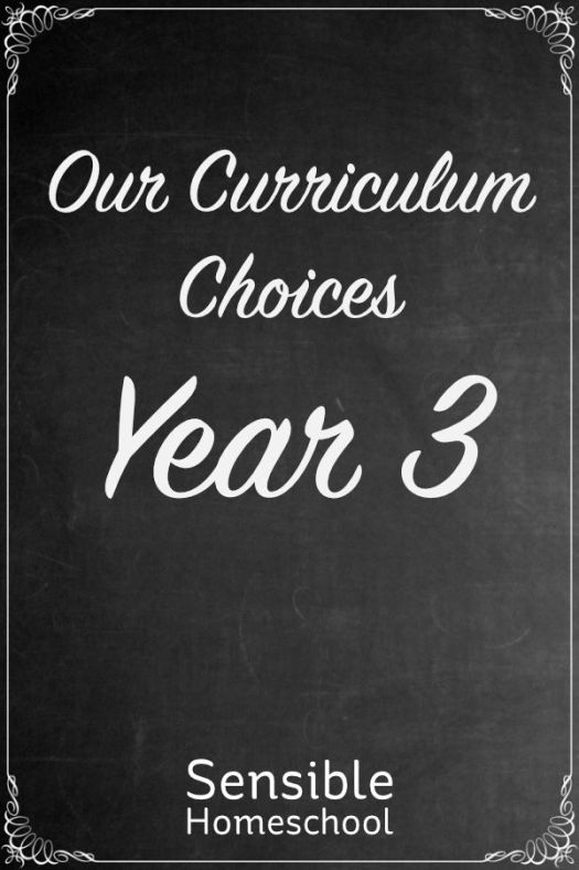 Sensible Homeschool Our Curriculum Choices Year 3 on chalkboard background