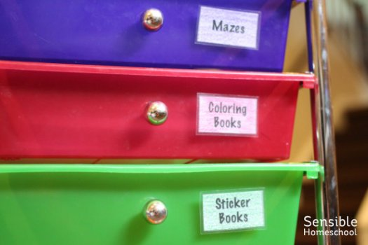 colored file drawers with laminated labels