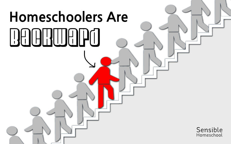 homeschoolers are backward unique red person going against flow of traffic