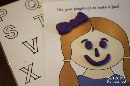 laminated blank face printable with play-doh face features