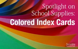 spotlight on school supplies colored index cards