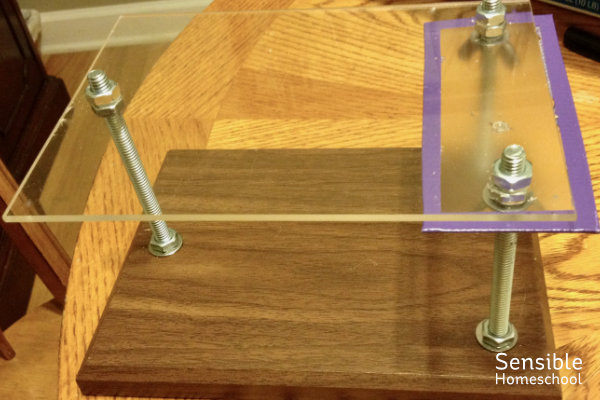 diy homeschool wood and plexiglas microscope contraption for iPhone
