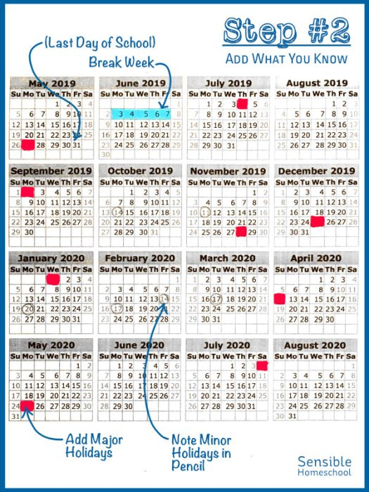 Step 2: Add What You Know heading with samples of highlighted calendar days and weeks