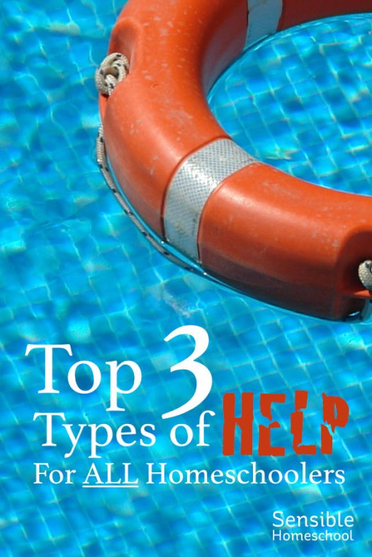 Top 3 Types of Help for All Homeschoolers title on pool water background with life saver