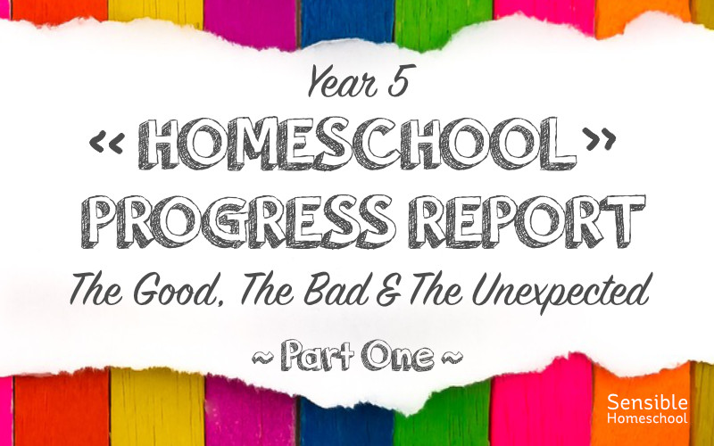 Year 5 Homeschool Progress Report The Good The Bad & The Unexpected Part 1 on striped colored background