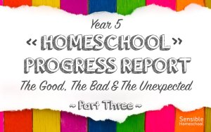 Year 5 Homeschool Progress Report The Good, The Bad & The Unexpected Part 3 on colored background