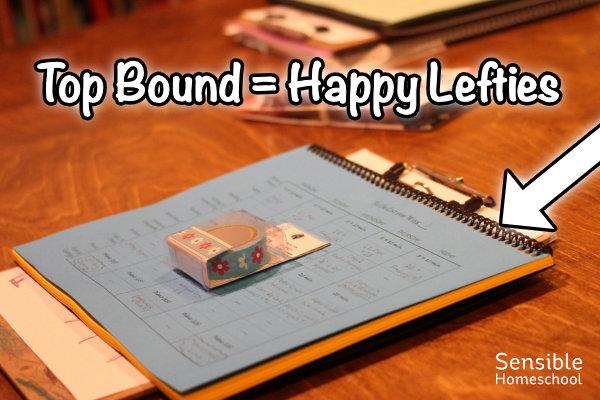 top bound = happy lefties with arrow pointing to top binding on DIY homeschool planner