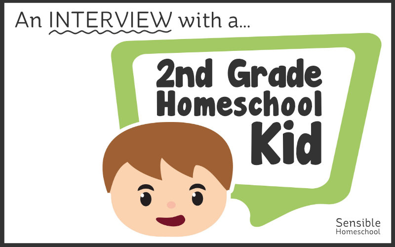 An interview with a 2nd Grade Homeschool Kid title with cartoon child speech bubble
