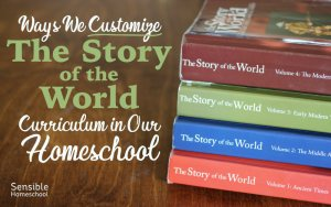 Ways We Customize the Story of the World Curriculum in our Homeschool title with stacked books