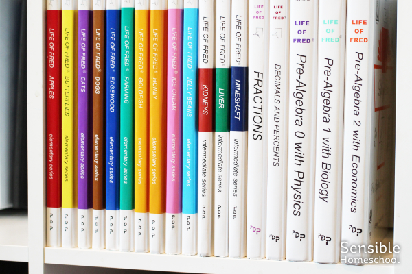 Life of Fred math book series on bookshelf