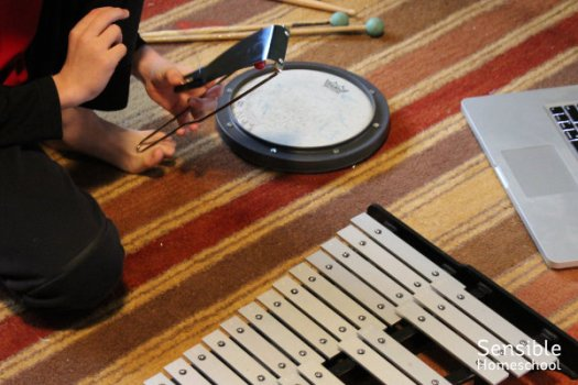 Homeschooler practicing percussion instruments including Flexatone, bells and drum pad.