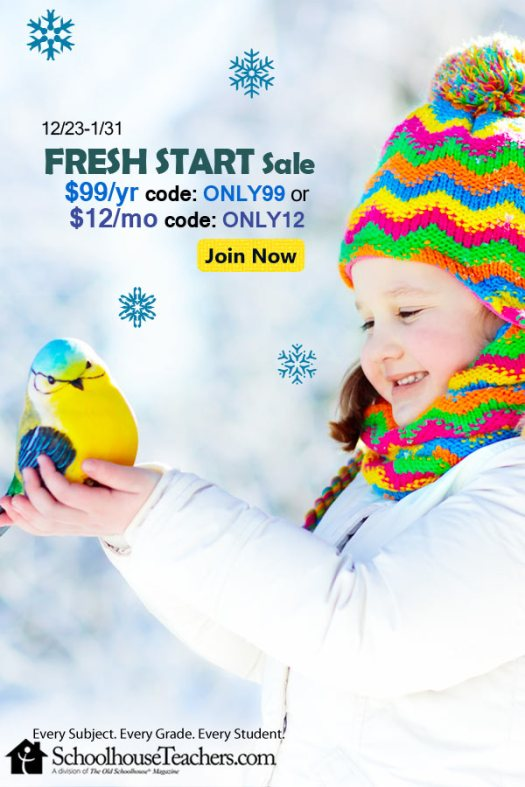Schoolhouse Teachers Fresh Start Sale $99/year