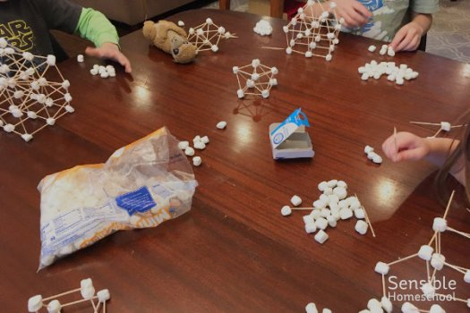 Homeschoolers building marshmallow & toothpick structures from Hands-On Architecture course