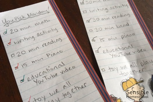 Homeschool handwritten to-do lists for 5th and 2nd graders