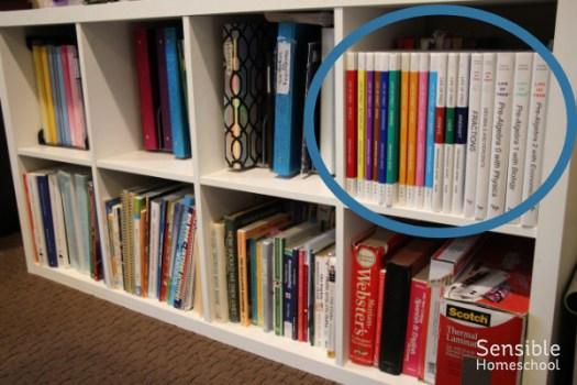 Homeschool shelves with math curriculum area circled