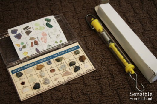 Homeschool science class mineral samples and hanging scale