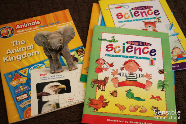 Homeschool science workbooks including Start Up Science and The Animal Kingdom