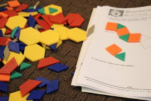 Homeschool pattern Tanagram blocks and Tanagram puzzle book