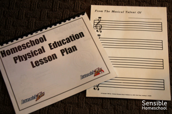 Homeschool PE lesson plan and blank music staff paper