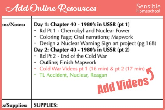 Homeschool history curriculum supplemental videos added to lesson planning spreadsheet