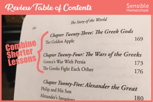 Story of the World Volume 1 Table of Contents with note showing combination of shorter lessons