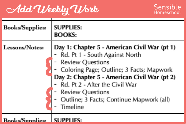 Story of the World weekly work added in lesson planning spreadsheet