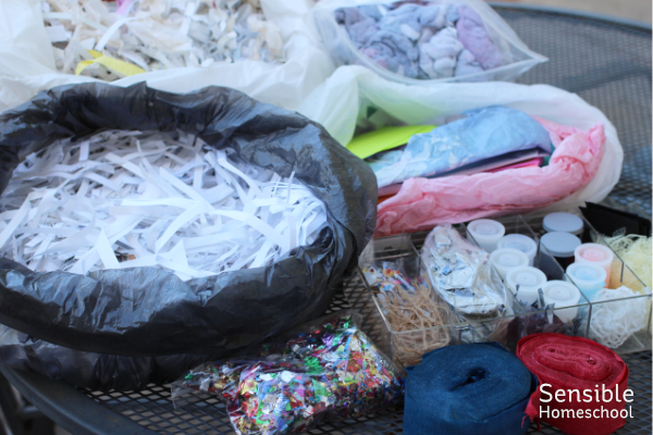Shredded paper, tissue paper, crepe paper, glitter, and other homemade paper craft materials