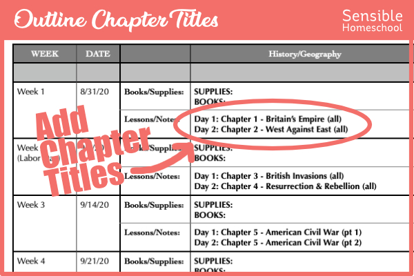 Homeschool history planning spreadsheet showing curriculum chapter titles outlined