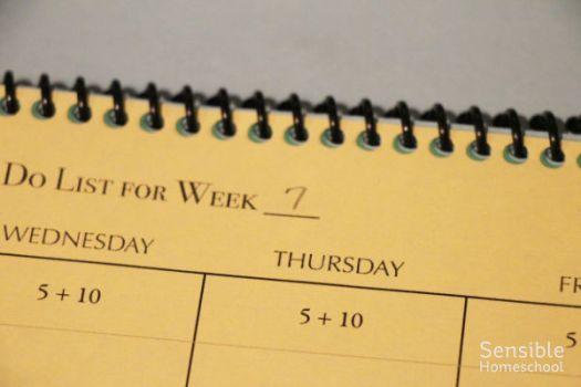Homeschool Kid's Planner Week