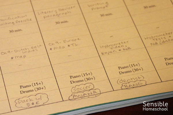 Homeschool planner with history, science and writing written in