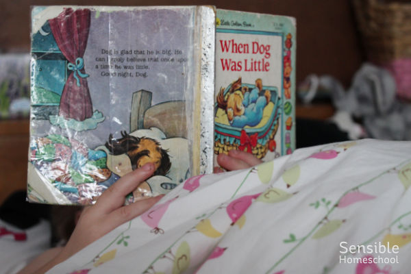 Preschooler reading When Dog Was Little in bed
