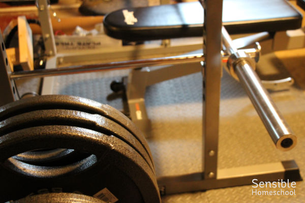 Basement workout room with lifting bar and bench plus weights on foam mat