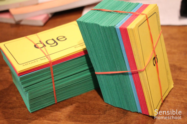 All About Spelling flashcards in stacks with rubber bands