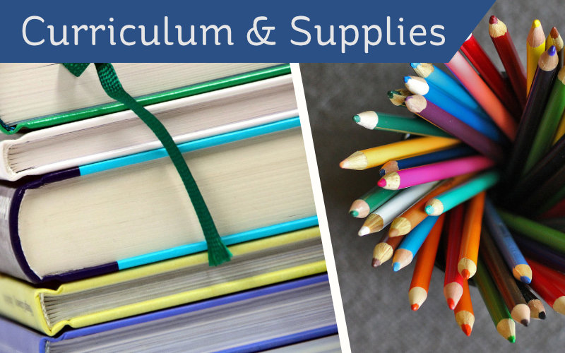 Curriculum & Supplies header - books and pencils