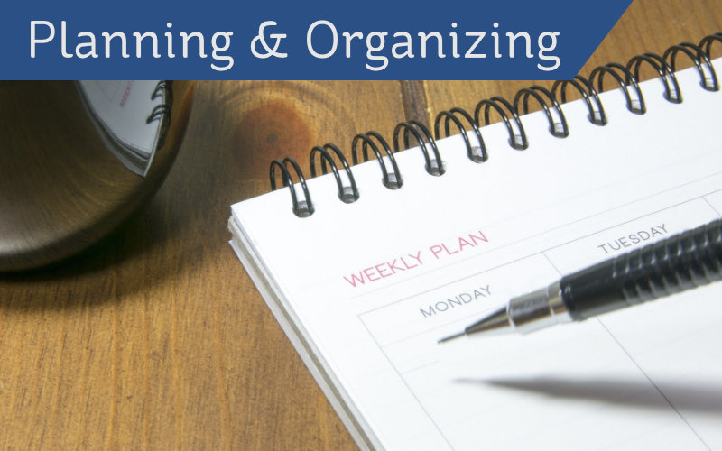Planning & Organizing header - notepad and pen