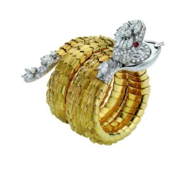 Bulgari_02.Serpenti bracelet watch with rubies and diamonds