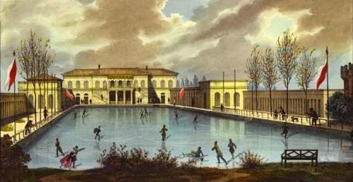 I Bagni di Diana durante un inverno dell'800 in cui la piscina era ghiacciata tanto da permettere il pattinaggio_