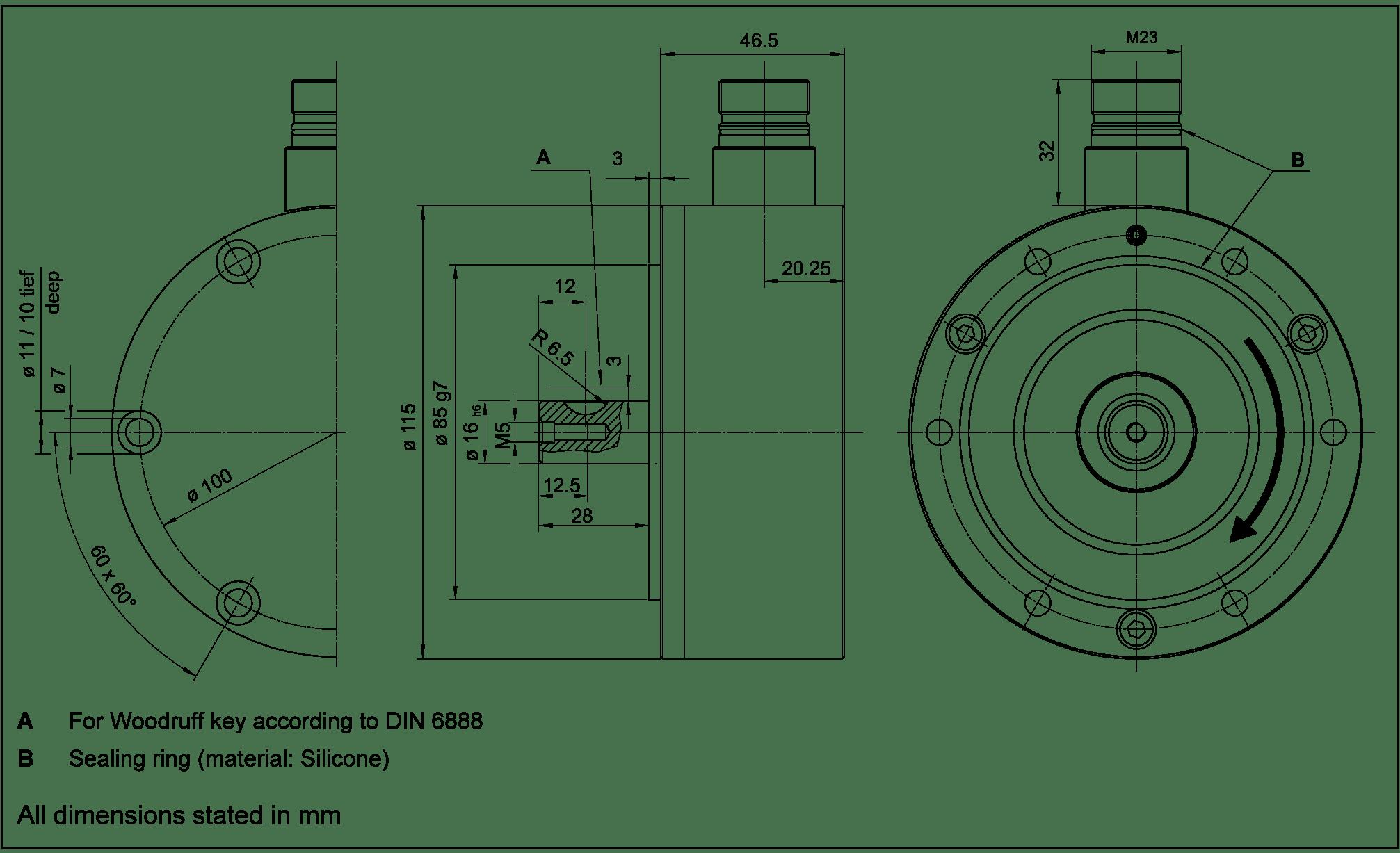 Magnetic Incremental Rotary Encoder Gel 2592- Lenord
