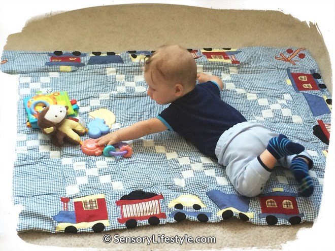 Sensory lifestyle play time on tummy