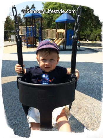 Josh on a swing in Mountain View, CA